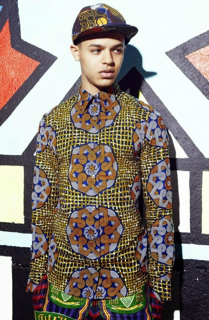 chemise africaine homme, casquette motifs africains, tenue casuelle pour garçon ado