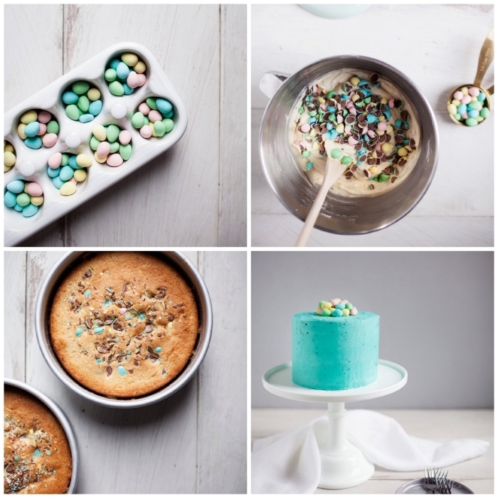 comment réaliser un gâteau de pâques facile composé de génoises vanille et œufs de pâques pastel recouvert de crème au beurre coloré