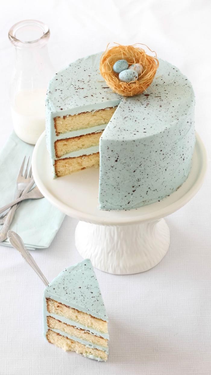 gâteau nid de paques tacheté à base de génoises vanille recouverts de crème au beurre, avec un nid en kadaif