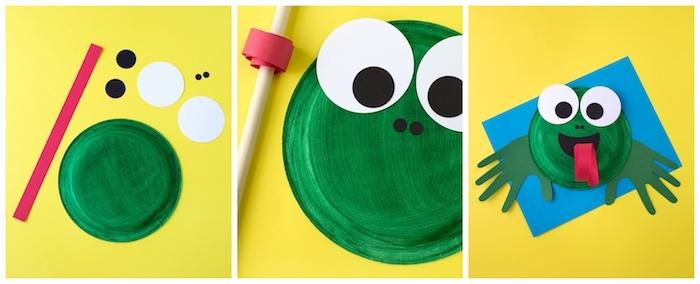 comment faire une grenouille ne assiette de papier repeinte en vert, langue et des yeux en papaier, activité manuelle 2 ans