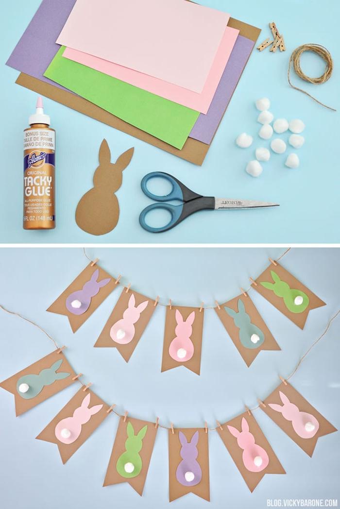 guirlande de papier à motif lapin avec queue en pompon blanc, silhouettes de lapin colorées, décoration de paques à fabriquer