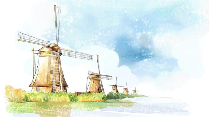 Les pays bas moulins, eau et champs, aquarelle dessin pays sans montagnes, dessin facile a faire soi meme idee en image