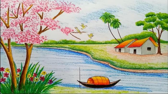 Dessin coloré printemps paysage dessin facile et beau, dessin tropique terre imaginaire