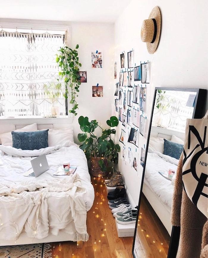 Se sentir confortable dans sa chambre avec lit double, miroir grand, moderne chambre adulte, deco bohème chambre cocooning