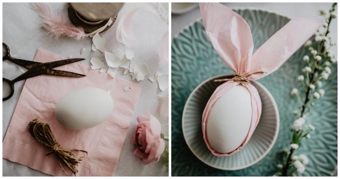 pliage serviette facile autour d'un oeuf façon tête de lapin mignon, déco de table de pâques douce en rose et vert pastel