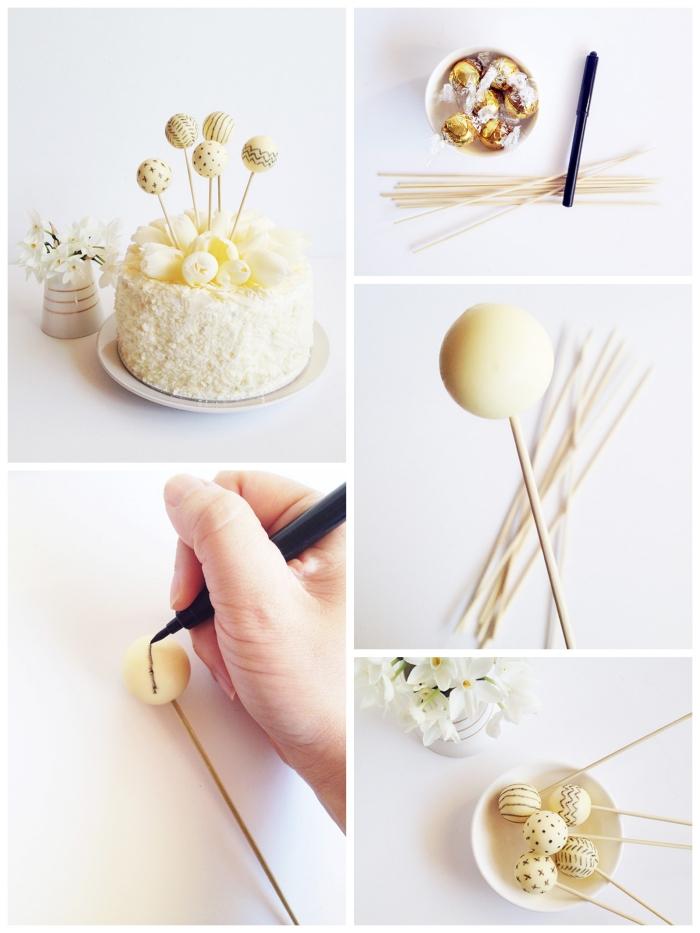 décoration de gateau d'anniversaire facile réalisée avec des bonbons au chocolat blancs à motifs dessiné