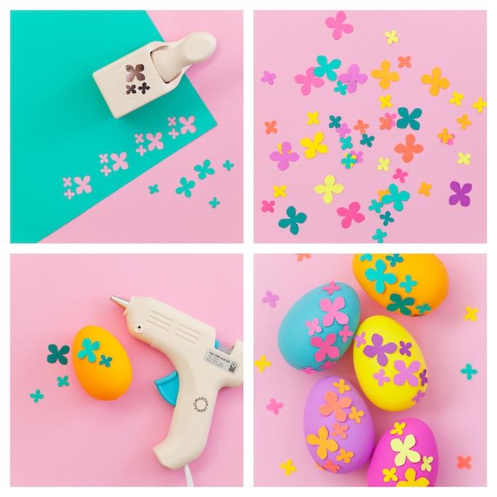 oeufs colorés décorés de petites fleurs de papier coloré collées avec pistolet à colle, décoration de paques à fabriquer