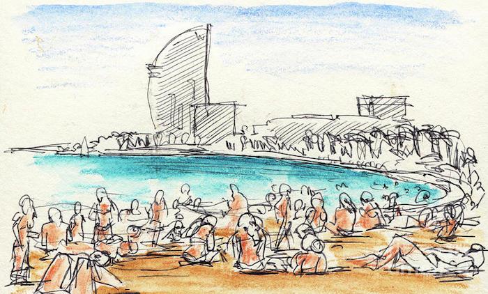 Barcelona plage et hotel w, dessin de paysage, chouette dessin facile a faire et beau, barcelonetta vue de la plage