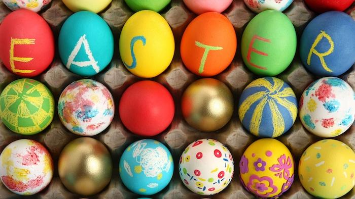 Les oeufs colorés aux couleurs joviales qui disent paques en anglais, printemps photo bon week end de paques, jolie image de pâques symboles