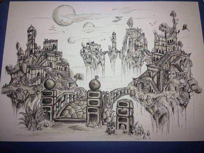 Pays imaginaire, fantaisie dessin monde lointaine, paysage dessin joli, le choix de dessin facile a faire et beau