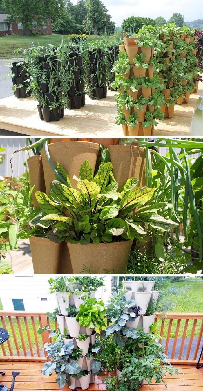 des pots empilables pour aménager un jardin en hauteur qui occupe très peu d'espace, un potager à la verticale avec des légumes plantés dans des pots