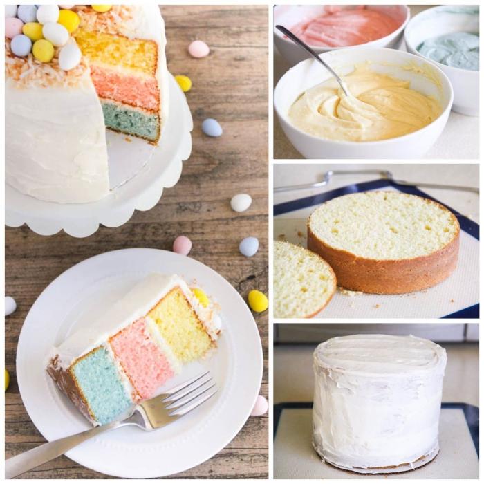 gâteau de pâques arc-en-ciel aux couleurs pastel recouvert de glaçage de crème au beurre et décoré d'un nid d'oiseau en noix de coco
