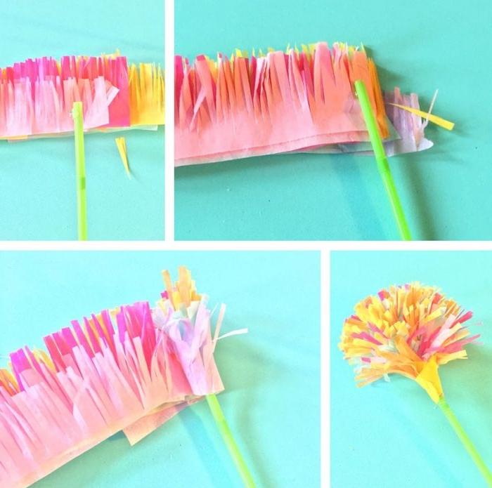 fleur en bande de papier de soie taillée autour d une paille verte, idée pour fabriquer une fleur en maternelle