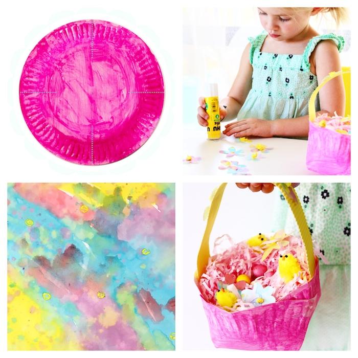 assiette de papier repeinte en fuchsia couleur pour fabriquer panier de paques maternelle rempli de confetti papier rose, poussins figurines et fleurs de papier