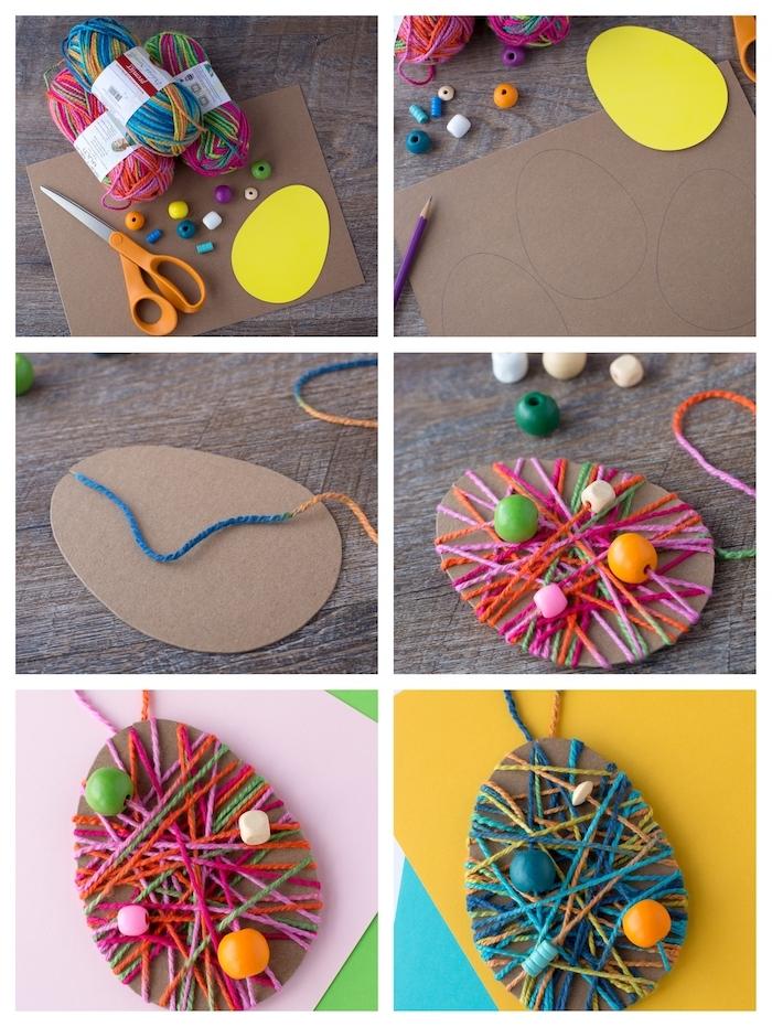 oeuf de paques en carton ondulé avec décoration de fils colorés entrecroisés et perles décoratives, bricolage paques facile