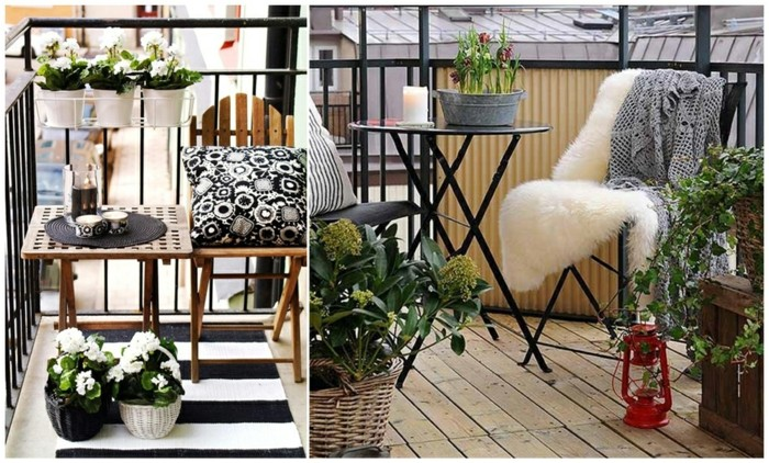chaises et table en metal, revetement sol en bois composite, plantes en pots, chaise et table bois pliante, deco balcon