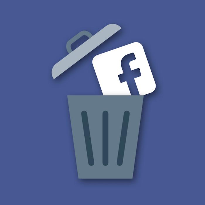 image symbole de logo facebook dans corbeille pour illustrer étude un mois sans fb rend plus heurex dans news technews