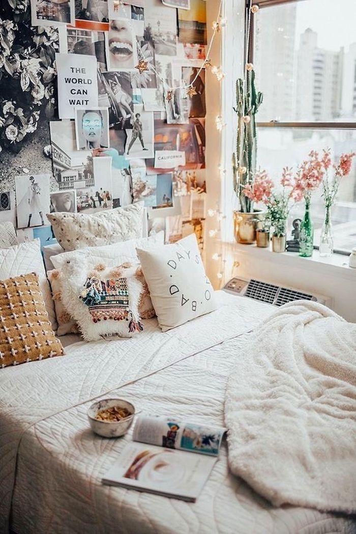 Bohème décoration chambre à coucher, les couleurs à choisir, mur photo effet tumblr, guirlandes lumineuses et plantes cactuses