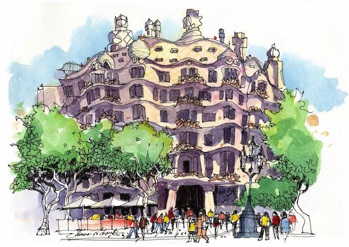 Barcelona beauté, casa Mila de gaudi architecture dessin aquarelle, inspiration dessin facile et beau, dessiner un paysage