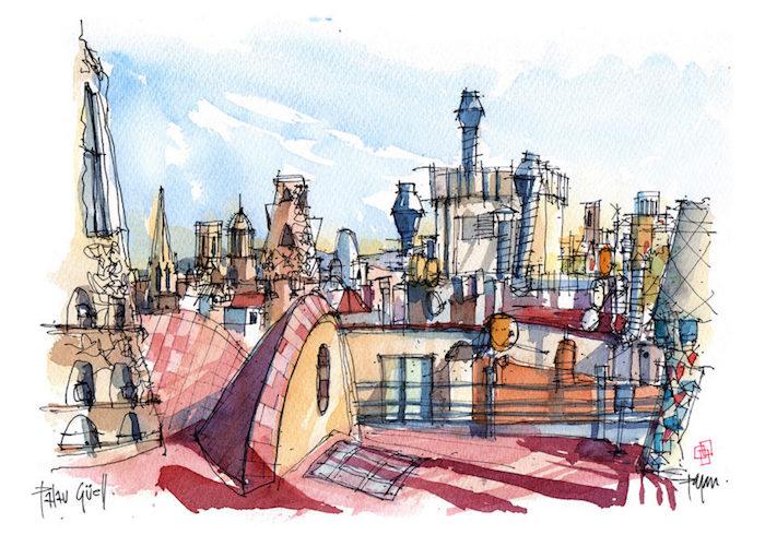 Barcelona vue de toit haut, aquarelle peinture batiments dessin idée simple et très jolie, dessiner un paysage