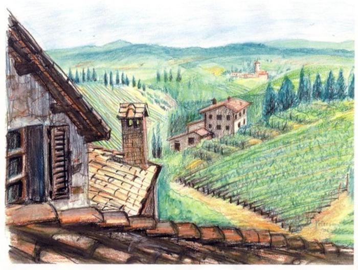 Toscane paysage de beauté, la nature dessin paysages maison et champs, dessin facile a faire et beau