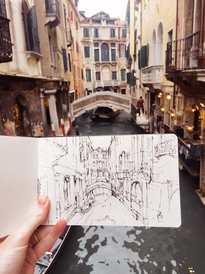 Venice canal idée dessin en perspective, dessin de paysage magnifique d'une des plus belles villes dans le monde