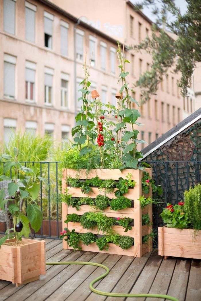 une jardiniere balcon haute en bois qui accueille plusieurs types de plantes