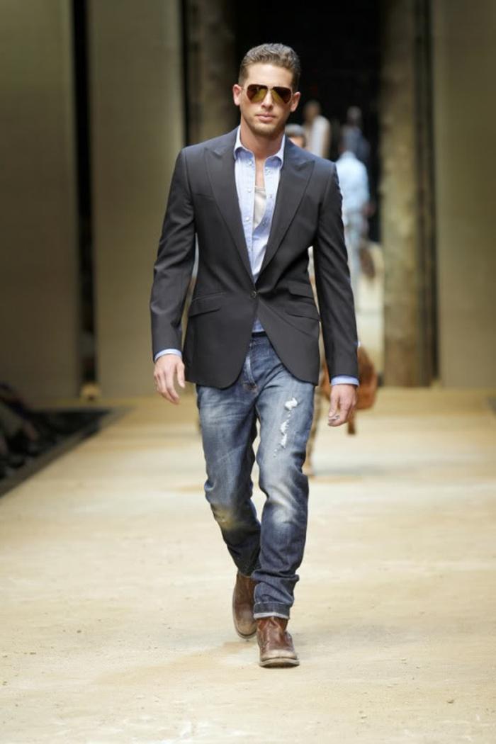 tenue d affaires décontractée homme élégant, exemple comment combiner jeans déchirés avec blazer élégant noir