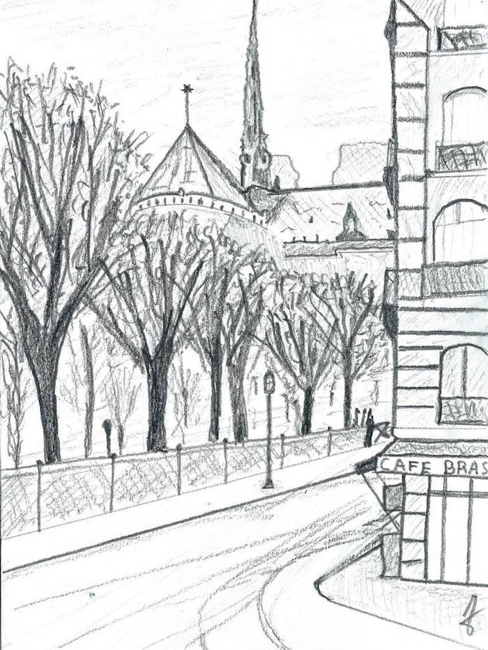Paris notre dame vue et café coin, paysage dessin facile a faire et beau, les rues de Paris, la plus romantique ville du monde