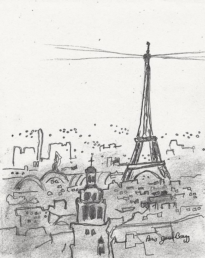 Paris la tour eiffel beau dessin de paysage, inspiration dessin facile à faire, la beauté de Paris