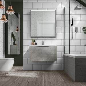 Modèles contemporains et captivants de la salle de bain en gris et blanc