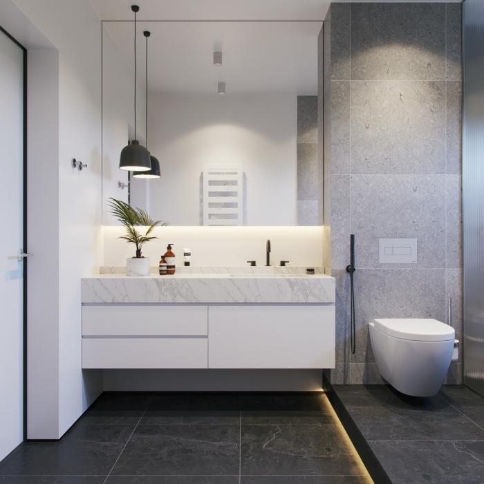 image salle de bain, décor contemporain d'une petite salle de bain avec toilette et cabine de douche, idée carrelage plancher gris anthracite