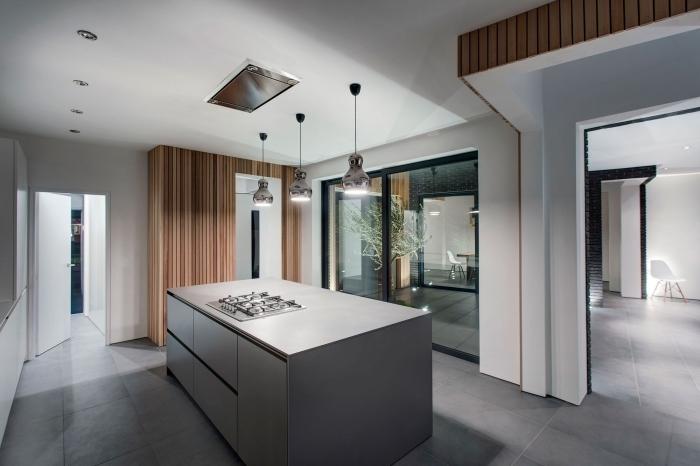 intérieur luxueux et contemporain dans une cuisine grise et bois, plan de cuisine avec îlot central en gris métallisé