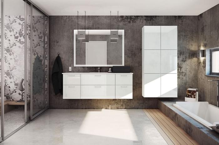 design intérieur style contemporaine, agencement salle de bain avec baignoire, idée peinture imitation béton pour salle de bain