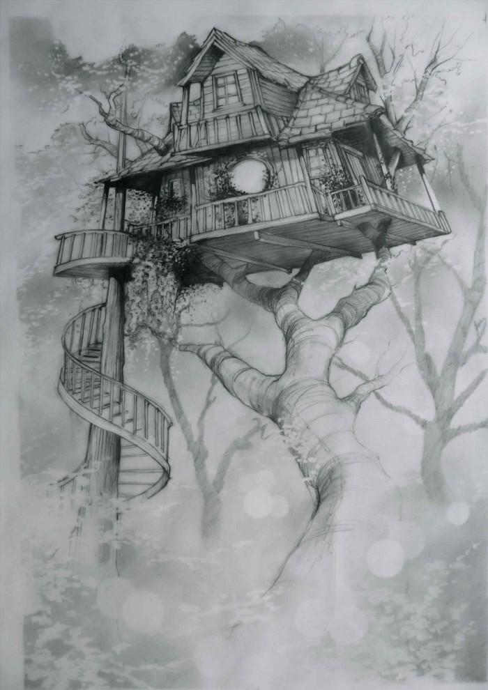 Magnifique maison en arbre imaginée, chouette idée dessin facile à faire, dessin de paysage beau
