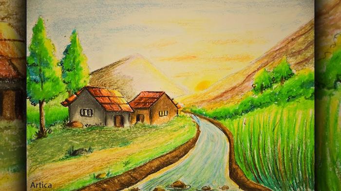 Idée coloriage paysage printemps été, verdure beauté de la nature en dessin, maisons champêtres