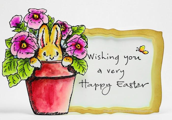 Lapin dans vase dessin pot de fleurs rouge, dessin de paques, carte joyeuses pâques cool idée quelle image