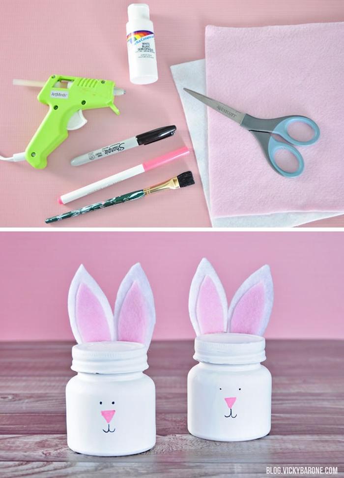 pot à bonbons coloré en blanc avec motif lapin dessiné sur le devant et des oreilles de feutrine, pot à bonbons et chocolats de paques diy