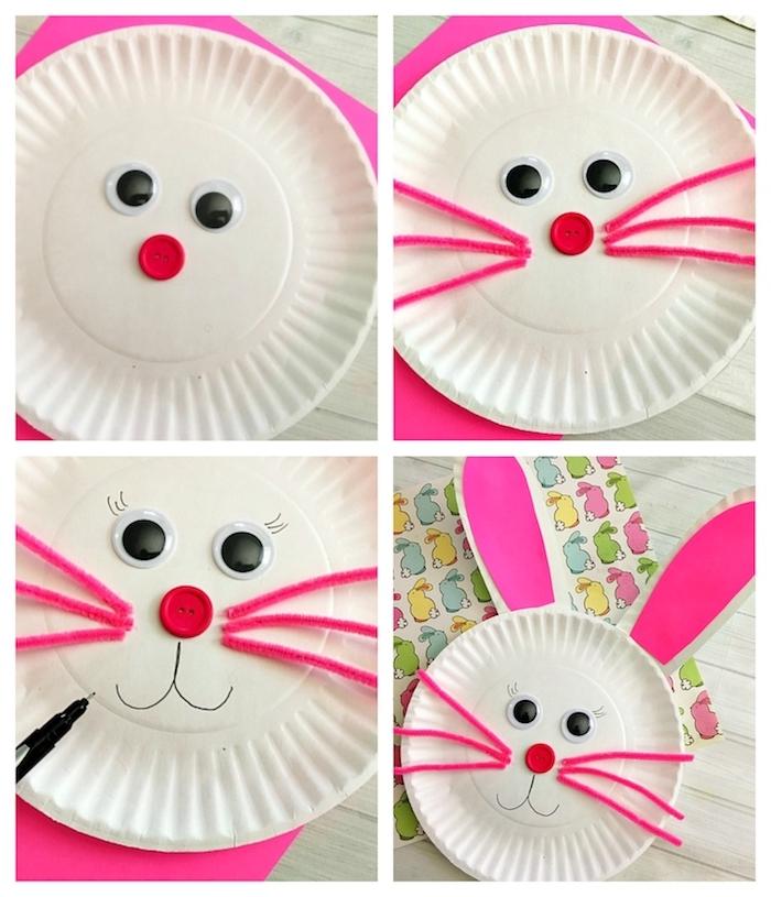 lapin blanc en assiette de papier en plastique avec des moustaches en cure pipe rose, des yeux mobiles, nez en bouton rouge et museau dessiné