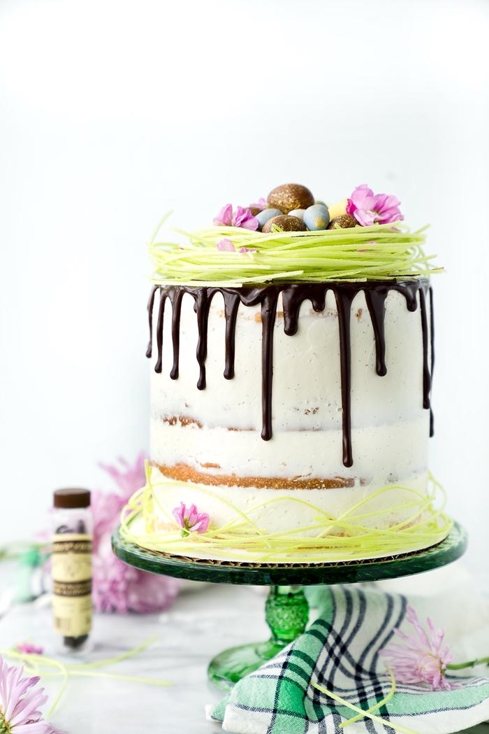 gâteau à étages au glaçage coulant de chocolat avec une jolie décoration d'herbe de pâques comestible et de petits oeufs en chocolat