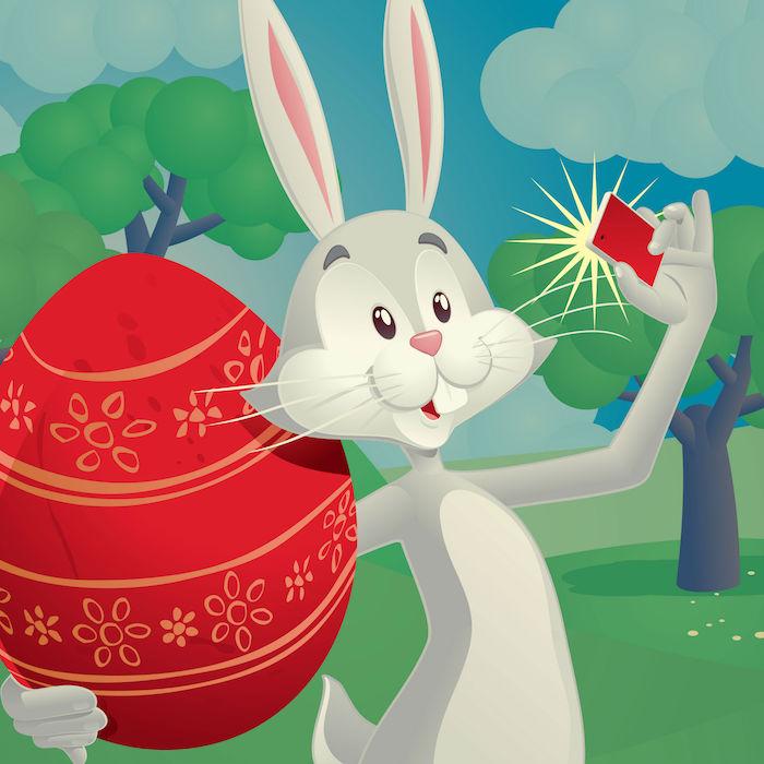 Le lapin de paques se fait un selfie avec l oeuf rouge, jolie photo oeuf de paques carte joyeuses pâques coloriage oeufs