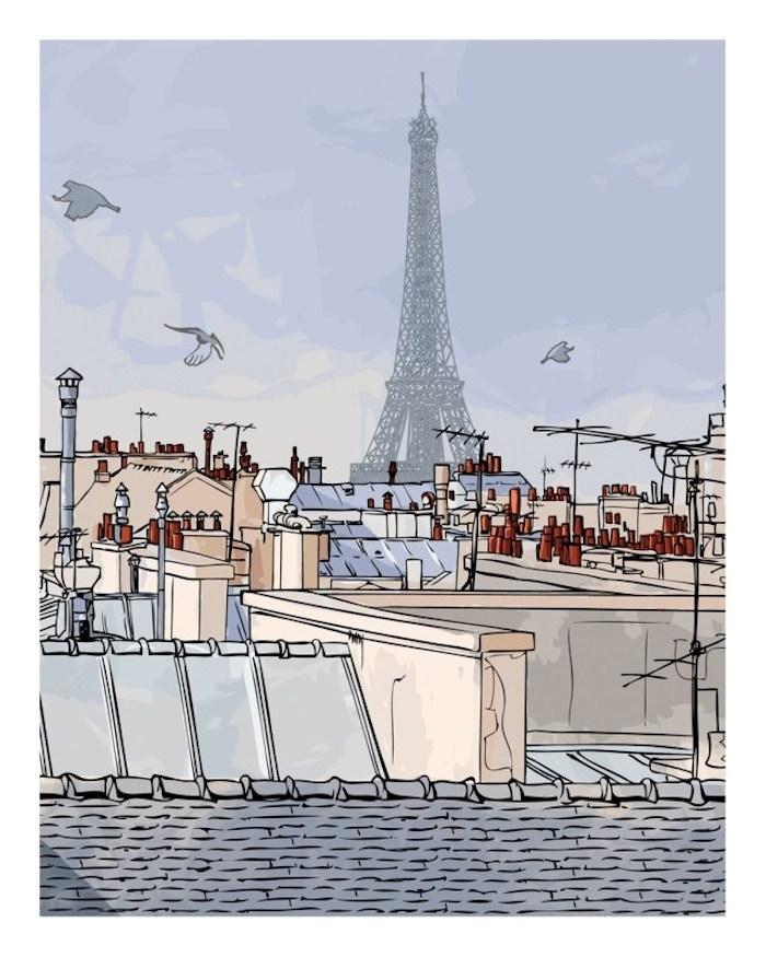 Paris dessin la tour eiffel, les toits de paris comment dessiner un paysage, dessin facile à faire pour les artistes professionnels
