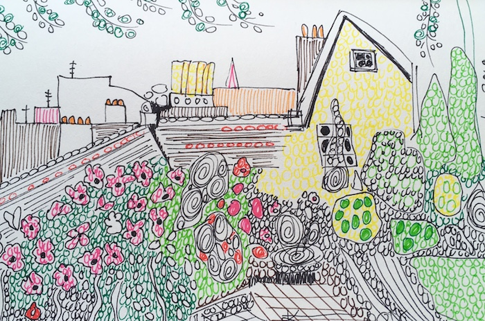 Les toits de Paris dessin coloré à motifs, coloriage paysage, dessin facile à faire, art à choisir