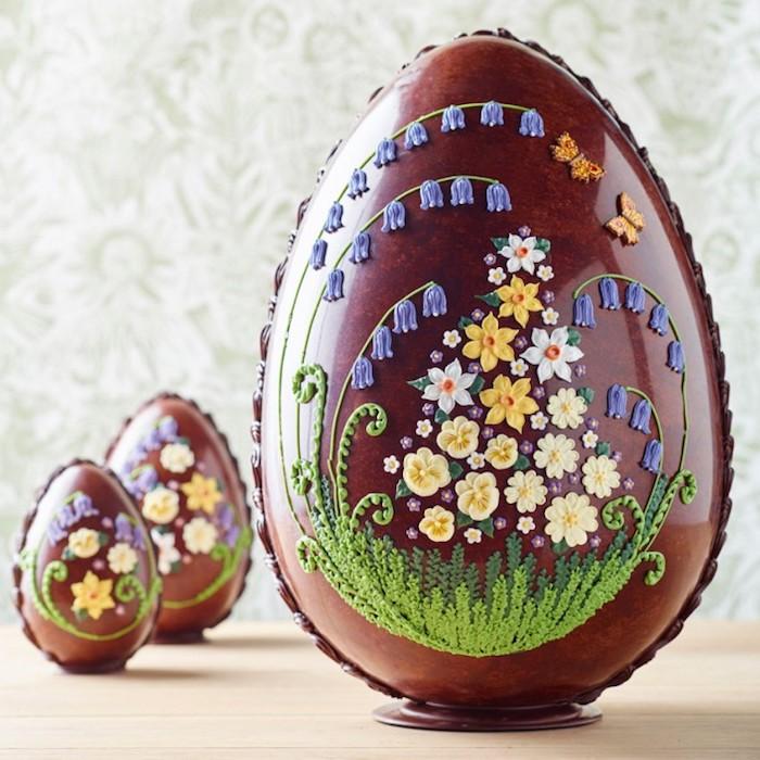 Oeufs au chocolat joliment décorés de fleurs, bon week end de paques, se mettre en bonne humeur, joyeuses paques images