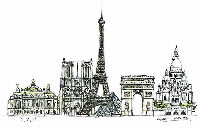 Paris touristiques lieux dessin facile et beau, idée dessin facile à faire représentation visuelle, illustrations des plus beaux batiments