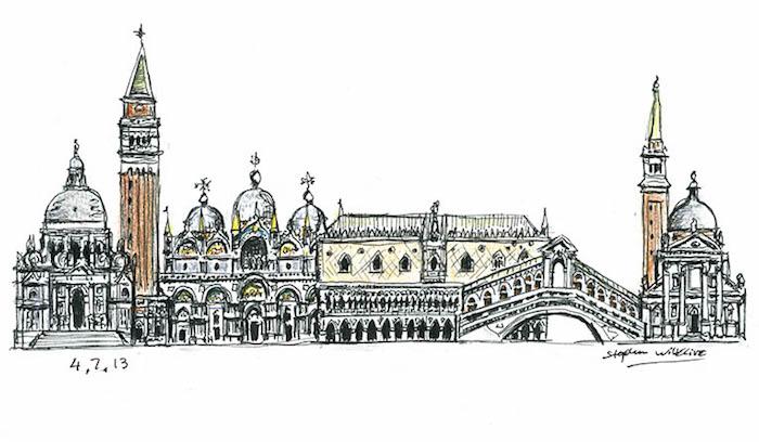 Venice dessin des lieux touristiques, idée de dessin facile à faire, cool image pour s'inspirer que dessiner