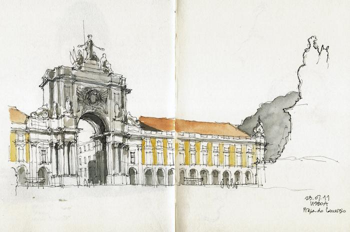 Lisbonne dessin aquarelle de praça de comerço, comment faire un dessin mer, beauté nature dessin facile à faire
