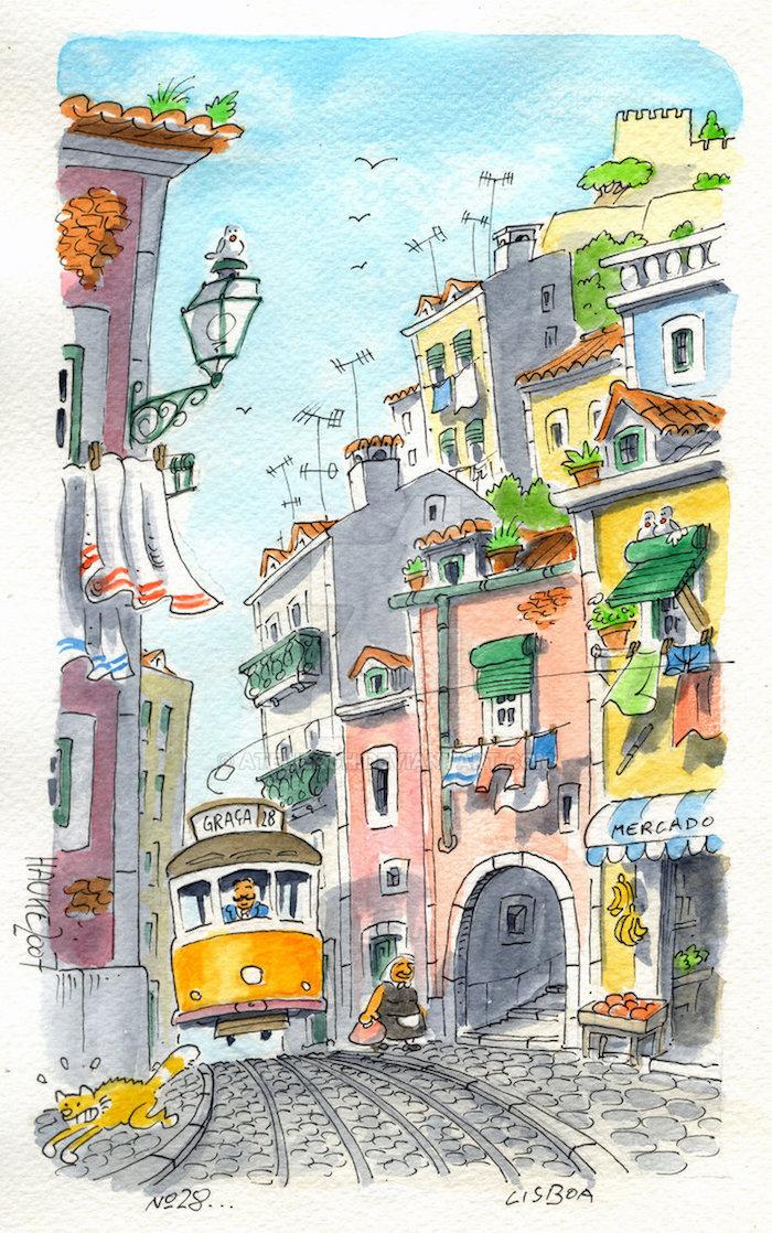 Lisbonne tramway jaune petits rues d'Alfama, idée dessin en perspective, dessin de paysage magnifique de rue etroite