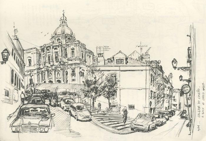 Lisboa alfama dessin esquisse, dessin chemin, beau dessin de paysage original inspiration artiste