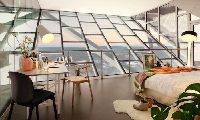 Deco chambre moderne, comment avoir une déco chambre tumblr cool style, loft dernier etage, cool chambre hipster moderne